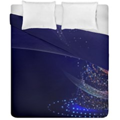 Christmas Tree Blue Stars Starry Night Lights Festive Elegant Duvet Cover Double Side (california King Size) by yoursparklingshop