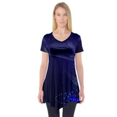 Christmas Tree Blue Stars Starry Night Lights Festive Elegant Short Sleeve Tunic  by yoursparklingshop