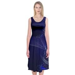 Christmas Tree Blue Stars Starry Night Lights Festive Elegant Midi Sleeveless Dress by yoursparklingshop