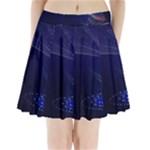 Christmas Tree Blue Stars Starry Night Lights Festive Elegant Pleated Mini Skirt
