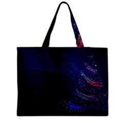 Christmas Tree Blue Stars Starry Night Lights Festive Elegant Zipper Medium Tote Bag by yoursparklingshop