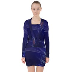 Christmas Tree Blue Stars Starry Night Lights Festive Elegant V Neck Bodycon Long Sleeve Dress by yoursparklingshop