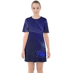Christmas Tree Blue Stars Starry Night Lights Festive Elegant Sixties Short Sleeve Mini Dress by yoursparklingshop