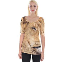Big Male Lion Looking Right Wide Neckline Tee by Ucco