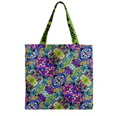 Colorful Modern Floral Print Zipper Grocery Tote Bag by dflcprints