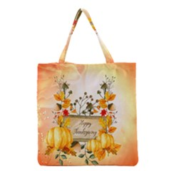 Happy Thanksgiving With Pumpkin Grocery Tote Bag by FantasyWorld7