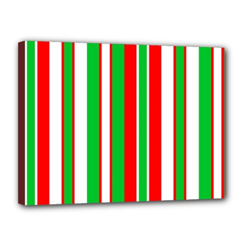 Christmas Holiday Stripes Red Canvas 16  X 12  by Celenk