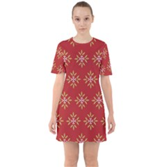 Pattern Background Holiday Sixties Short Sleeve Mini Dress