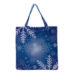 Snowflakes Background Blue Snowy Grocery Tote Bag