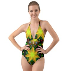 Christmas Star Fractal Symmetry Halter Cut Out One Piece Swimsuit