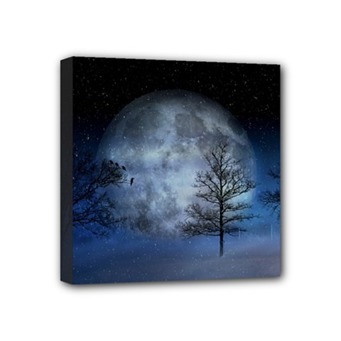 Winter Wintry Moon Christmas Snow Mini Canvas 4  X 4  by Celenk