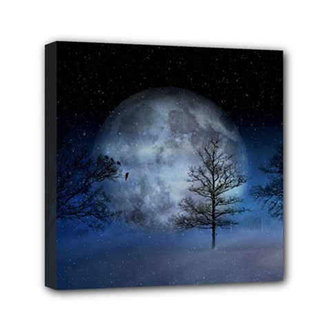 Winter Wintry Moon Christmas Snow Mini Canvas 6  X 6  by Celenk
