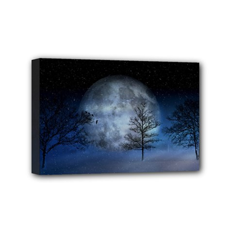Winter Wintry Moon Christmas Snow Mini Canvas 6  X 4  by Celenk