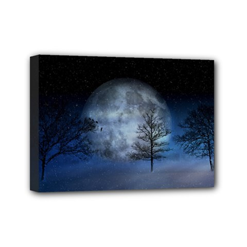 Winter Wintry Moon Christmas Snow Mini Canvas 7  X 5  by Celenk