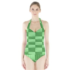 Wool Ribbed Texture Green Shades Halter Swimsuit by Celenk