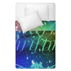 Christmas Greeting Card Frame Duvet Cover Double Side (single Size) by Celenk