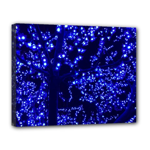 Lights Blue Tree Night Glow Canvas 14  X 11  by Celenk