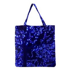 Lights Blue Tree Night Glow Grocery Tote Bag by Celenk