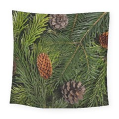 Branch Christmas Cone Evergreen Square Tapestry (large) by Celenk