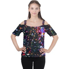 Abstract Background Celebration Cutout Shoulder Tee by Celenk