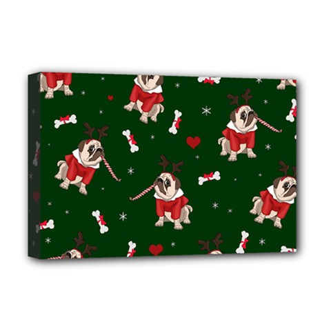 Pug Xmas Pattern Deluxe Canvas 18  X 12   by Valentinaart