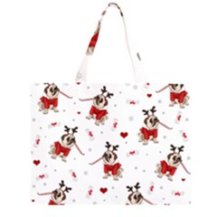 Pug Xmas Pattern Zipper Large Tote Bag by Valentinaart