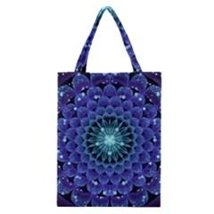 Accordant Electric Blue Fractal Flower Mandala Classic Tote Bag by jayaprime