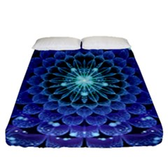 Accordant Electric Blue Fractal Flower Mandala Fitted Sheet (queen Size)