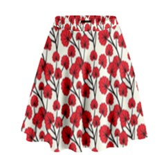 Red Flowers High Waist Skirt by AllThingsEveryone