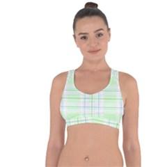 Green Pastel Plaid Cross String Back Sports Bra