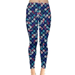 Dark Blue Snowflakes & Candy Cane Leggings  by PattyVilleDesigns