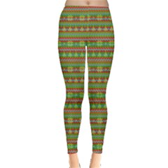 Red & Green Zigzags Xmas Pattern Leggings  by PattyVilleDesigns