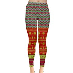 Colorful Zigzag Christmas Pattern Leggings  by PattyVilleDesigns