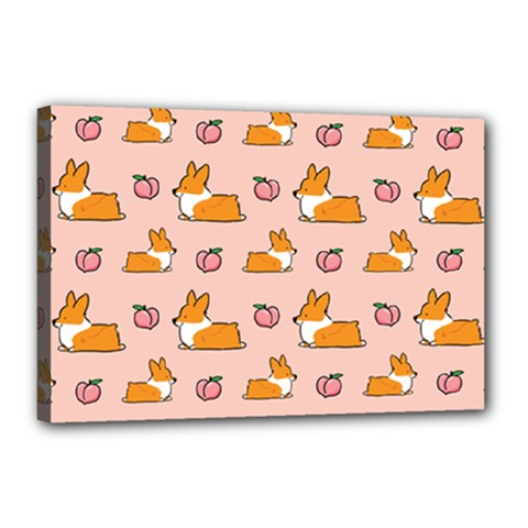 Corgi Peach Sploot Fabric Canvas 18  X 12  by Celenk