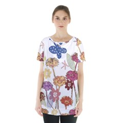 Flowers Butterflies Dragonflies Skirt Hem Sports Top by Celenk