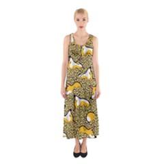 Sleeping Corgi Sleeveless Maxi Dress
