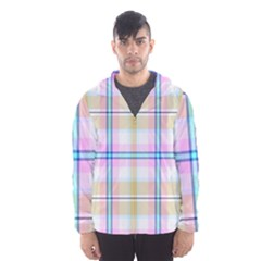 Pink And Yellow Plaid Hooded Wind Breaker (men) by allthingseveryone