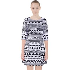 Black And White Ethnic Pattern Pocket Dress by SageExpress