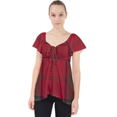 Red And Green Tartan Plaid Lace Front Dolly Top