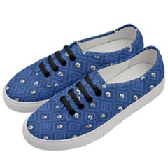 Funny Little Skull Pattern, Blue Women s Classic Low Top Sneakers by MoreColorsinLife