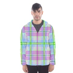 Pink And Blue Plaid Hooded Wind Breaker (men) by allthingseveryone