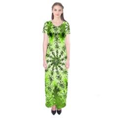 Lime Green Starburst Fractal Short Sleeve Maxi Dress by allthingseveryone