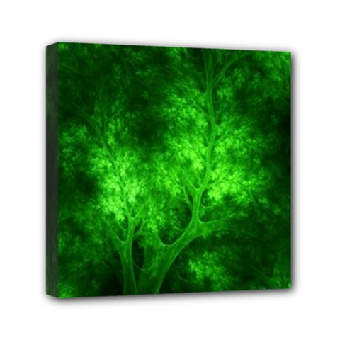 Artsy Bright Green Trees Mini Canvas 6  X 6  by allthingseveryone