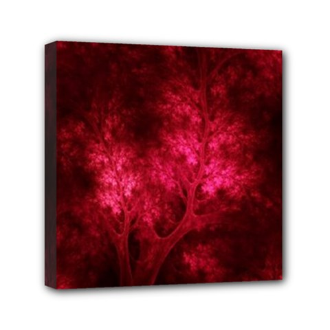 Artsy Red Trees Mini Canvas 6  X 6  by allthingseveryone