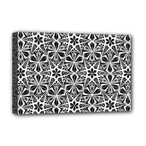 Star With Twelve Rays Pattern Black White Deluxe Canvas 18  X 12   by Cveti