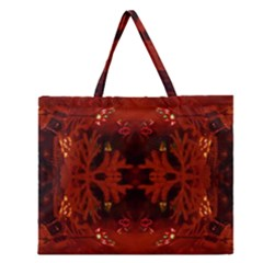 Red Abstract Zipper Large Tote Bag by Celenk