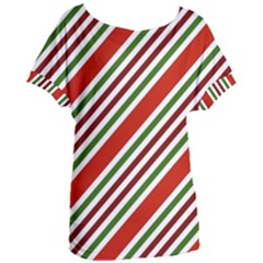 Christmas Color Stripes Women s Oversized Tee