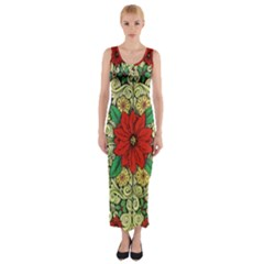 Calsidyrose Groovy Christmas Fitted Maxi Dress by Celenk
