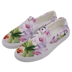 Wonderful Flowers, Soft Colors, Watercolor Men s Canvas Slip Ons by FantasyWorld7