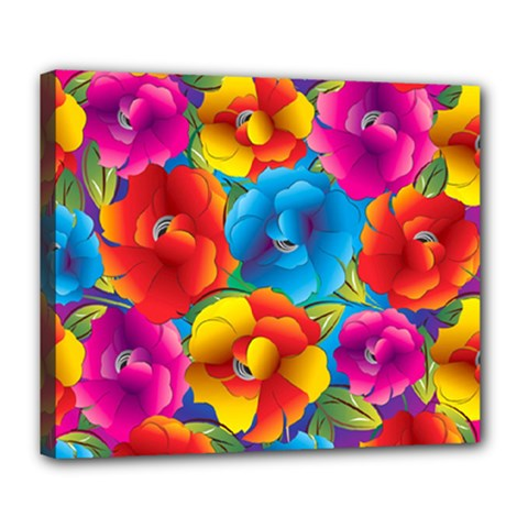 Neon Colored Floral Pattern Deluxe Canvas 24  X 20   by teambridelasvegas